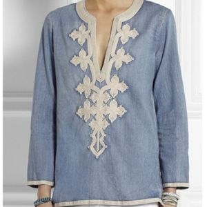J.Crew Embroidered Tunic Chambray Sz 4
